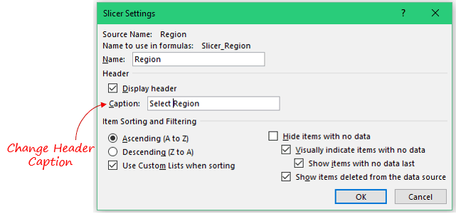 Slicers in Excel Pivot Table - change header caption
