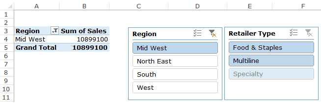 Slicers in Excel Pivot Table - different shade