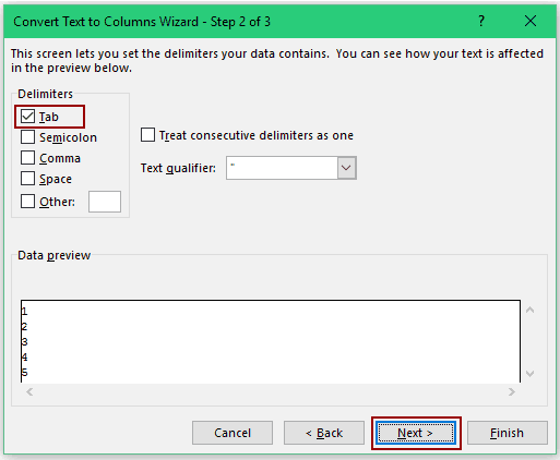 Convert Text to Numbers in Excel - text to column step2