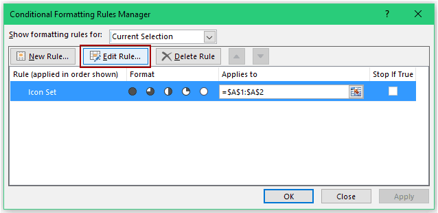 Increase Size of Harvey Balls in Excel - Edit Rule