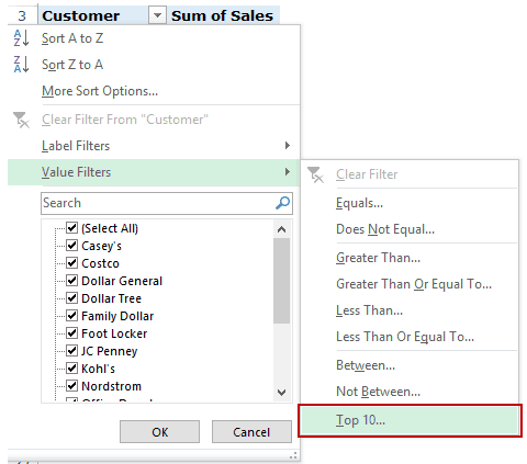 Filter Data in a Pivot Table in Excel - Value Top 10