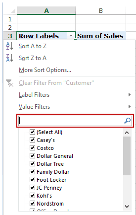 Filter Data in a Pivot Table in Excel - search box 1
