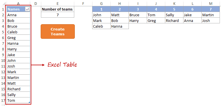 Random Group Generator Template - Excel Table