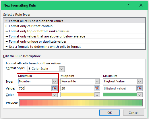 Heat Map in Excel - minimum 700