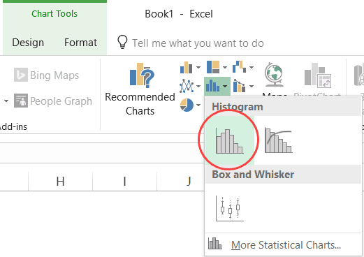 Histogram Chart Option in the Ribbon