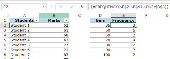 Histogram in Excel - frequency function