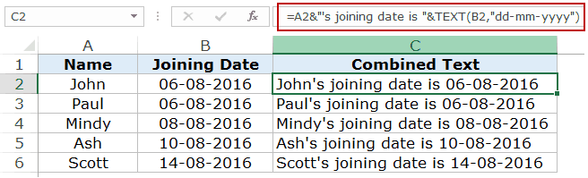 Convert Date to Text - Joining date example