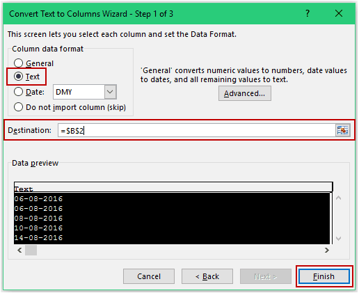 Convert Date to Text using Text to Column