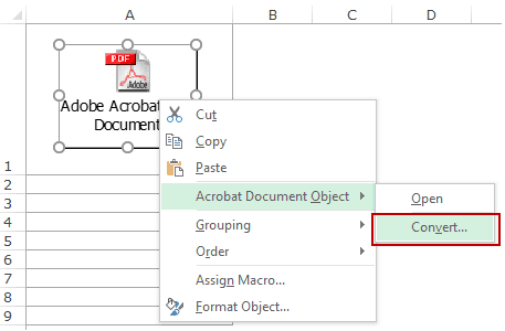 Embed a PDF File in an Excel Worksheet - Convert