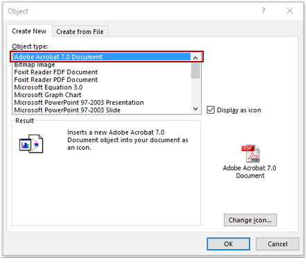 Embed a PDF File in an Excel Worksheet - Select Adobe Object