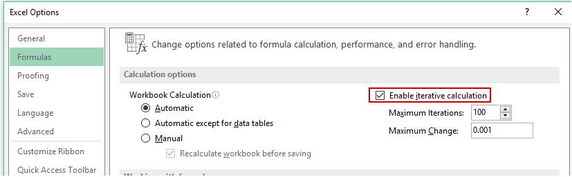 Enable iterative calculation in Excel for inserting timestamps
