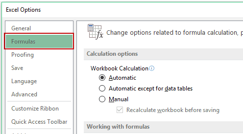 Changing formulas settings in Excel