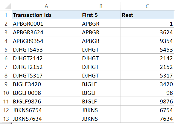 excel text to columns - transaction-ids-split