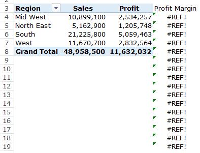 Pivot Table Calculated Field - Error