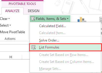 Pivot Table Calculated Field - List Formulas