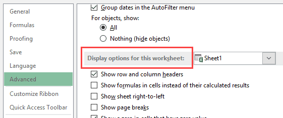 Show Formulas in Excel Instead of the Values - Display options