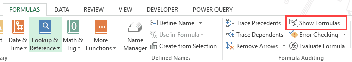 Show Formulas in Excel Instead of the Values - Button