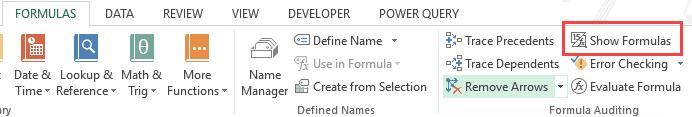 Copy and Paste Formulas in Excel - show formulas