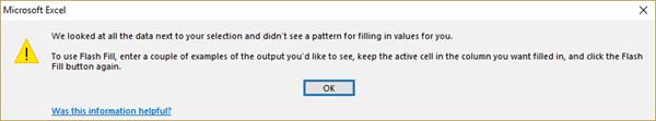 Excel Flash Fill - Error