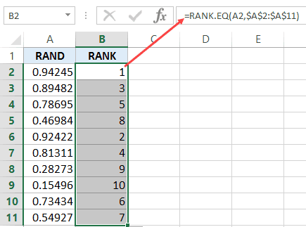 Generate Random Numbers in Excel - Rank Function