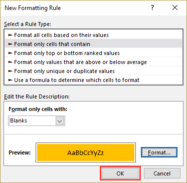 Highlight Blank Cells in Excel - OK