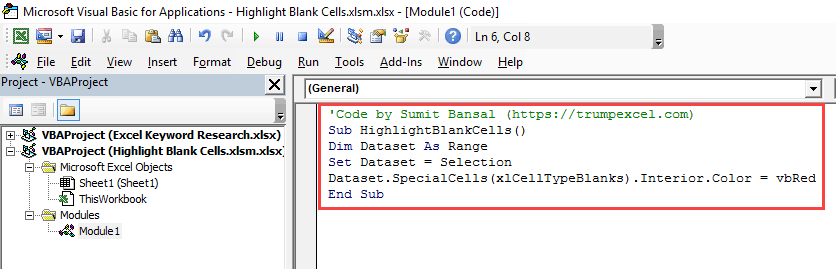 Highlight Blank Cells in Excel - code