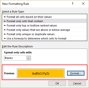 Highlight Blank Cells in Excel - format