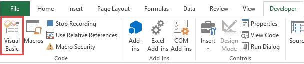 Click on Visual Basic Editor to Copy Macro in Personal Macro Workbook