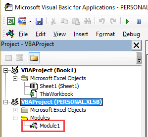Double click on Module in Personal Macro Object