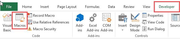 VBA Excel Macro Examples - Developer