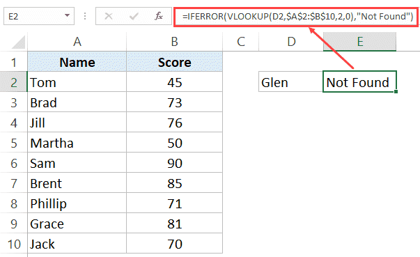Using IFERROR with VLOOKUP to get Not Found