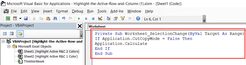 Vb Code in the backend to highlight the active row and column in Excel