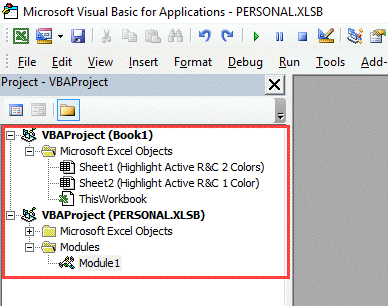 Vb Editor Project Explorer - Highlight Selected Row or Column