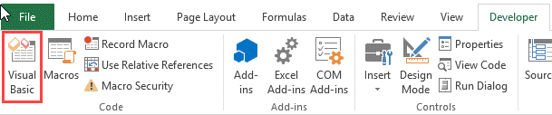 Visual Basic icon in the Ribbon