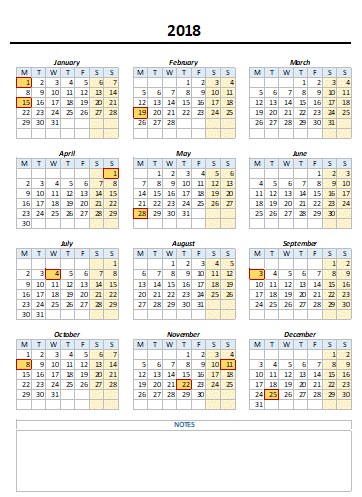 yearly excel calendar