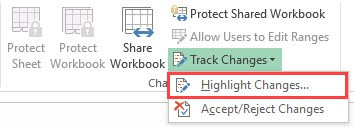 Activate the highlight changes option in Excel