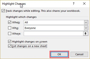 Check the option - List changes on a new sheet ok