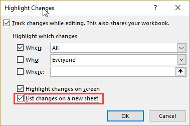 Check the option - List changes on a new sheet