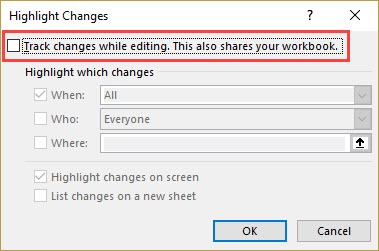 Disable Track Chnages option in Excel