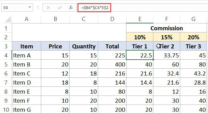 Mixed Cell References in Excel - Formula
