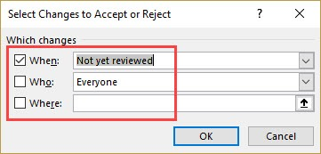 When What and Where in accept reject changes in excel