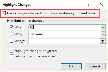 check the track changes option in the dialog box