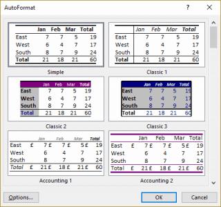 AutoFormat Dialog box