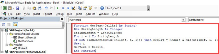 Custom function to get the Text part from the string