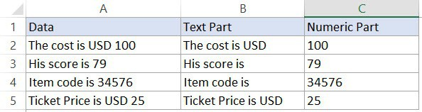 Dataset to get the numeric or the text part in Excel