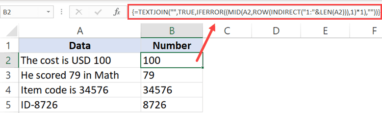 Formula to get all number from a string