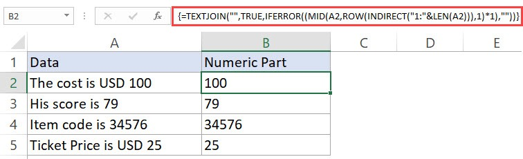 Getting the Numeric Part from String using Excel Formula