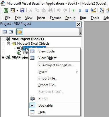 Right click on VBA Backend