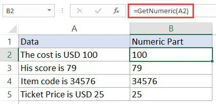 Using Custom VBA Function to get only the numeric part from a string in Excel