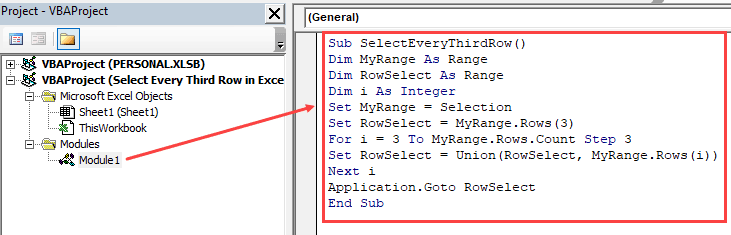 Copy the code to select every third row in Excel in the module